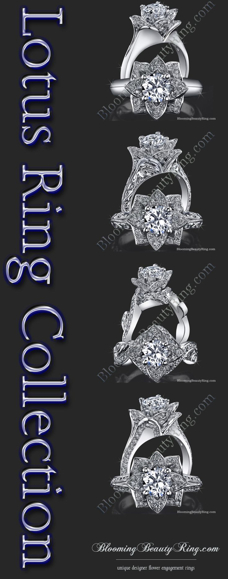 huge wedding rings lotus flower wedding ring Our lotus flower engagement rings mimic the very nature of the lotus Each ring like the actual lotus flower itself has petals that sit higher