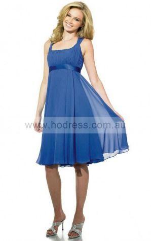 Chiffon Square Empire A-line Knee-length Bridesmaid Dresses 0740433--Hodress