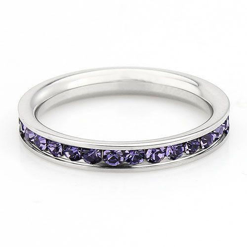 Amethyst Gemstone Full Eternity ring - stacking ring - wedding band in white gold or titanium