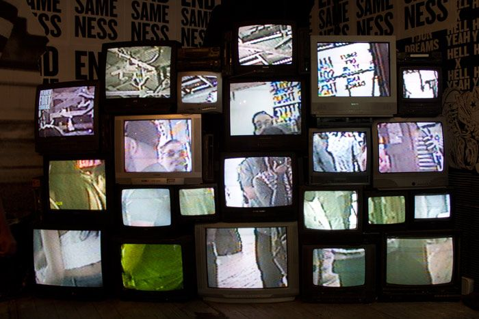 <p> For a retro vibe, one corner of the Fader Fort held an installation of old TV sets displaying a...