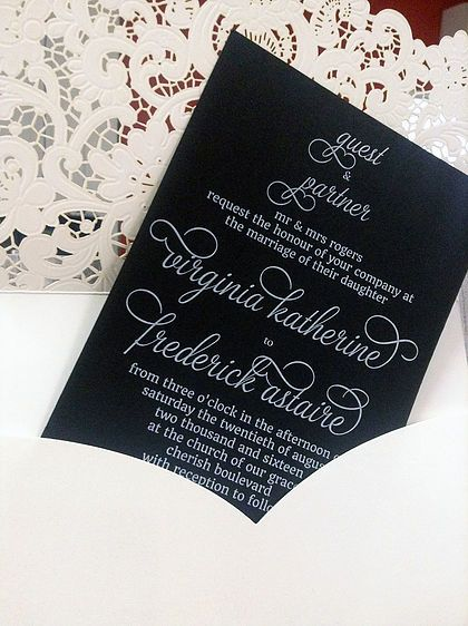 Traditional Lace laser cut invitation wallet in white shimmer with invitation insert white ink printed on Cocktail Hour black shimmer card