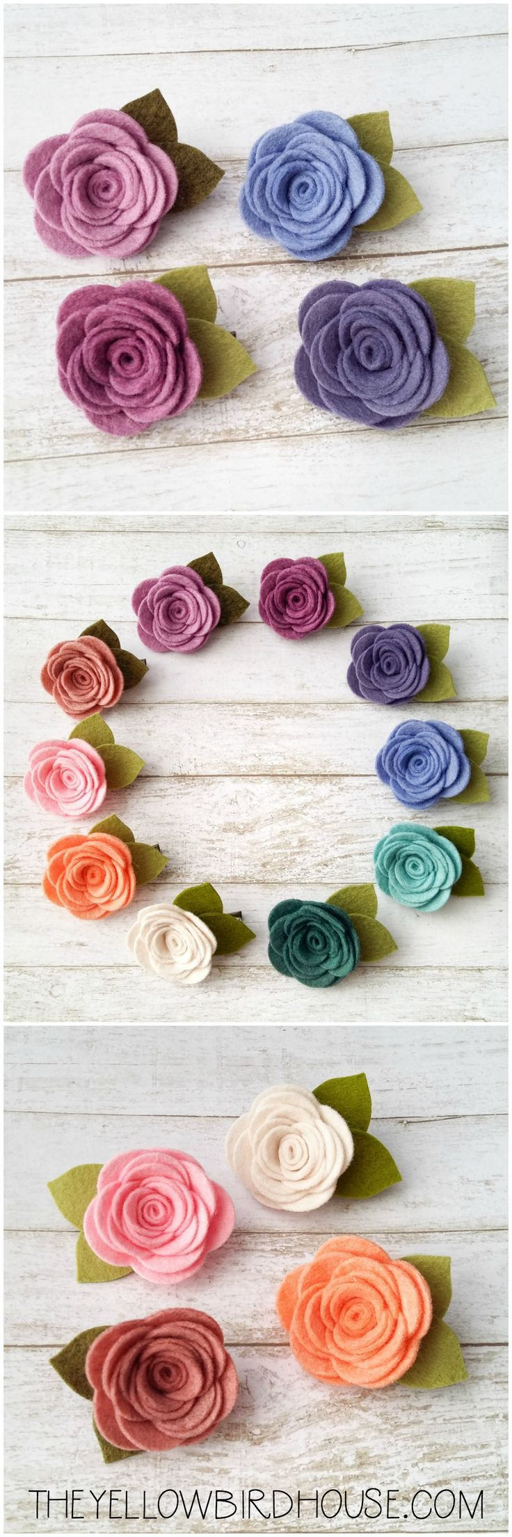 Felt Flower Hair Clips for girls. Little wool felt roses. Hair accessories for girls.
