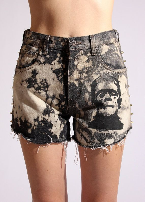 Black High Waisted Studded Frankenstein Shorts $48.00
