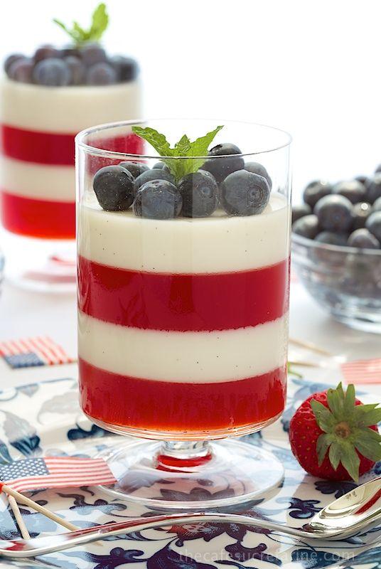 Strawberry and Vanilla Bean Panna Cotta. Silky smooth vanilla bean-flecked panna cotta layered with fresh strawberry gelatin.