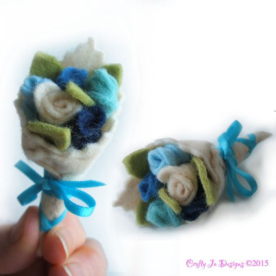 Blue Rose Bouquet Brooch Something Blue Rose by CraftyJoDesigns