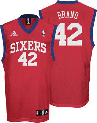 Philadelphia 76ers Elton Brand 42 Red Authentic NBA Jersey Sale