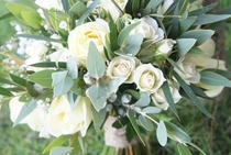 white cream and green bouquet with lush gum leaves