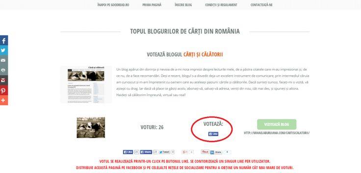 Votați blogul Cărți și călătorii! http://goodread.ro/topulblogurilordecarti/voteaza.php?id=71