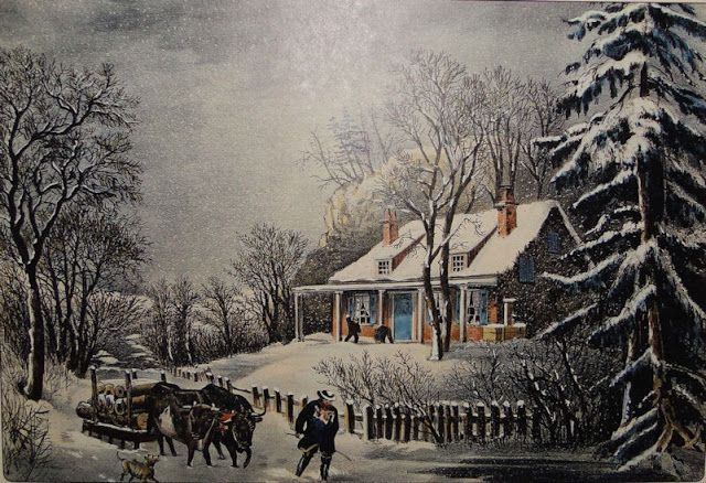 """Currier & Ives """"The Snow Storm"""" 1864"""