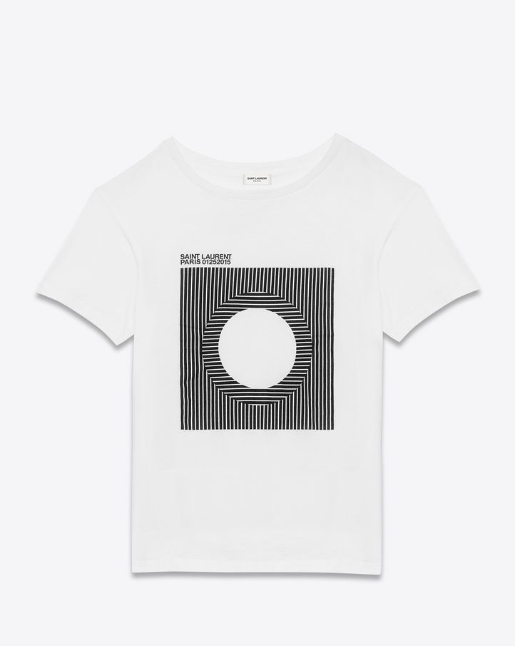 saintlaurent, VINYL Tプロジェクト半そでTシャツ(ホワイト&ブラック、コットンジャージ)