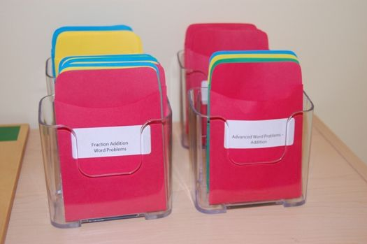Using Library Pockets to store individual word cards, flash cards, etc.