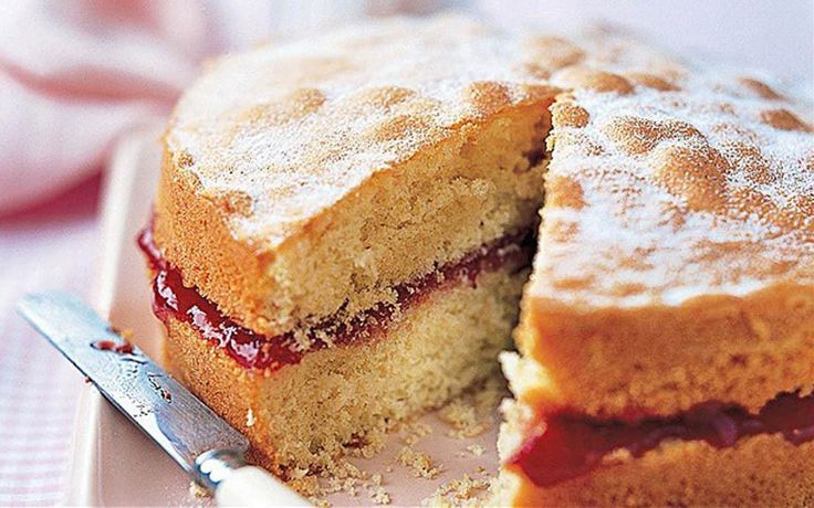 A classic recipe for Victoria sponge sandwich cake filled with jam