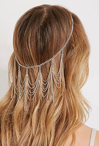 Coachella hair accesories. Hair Trend Alert - Backwards Hair Accessories, chains. Boho gypsy style.