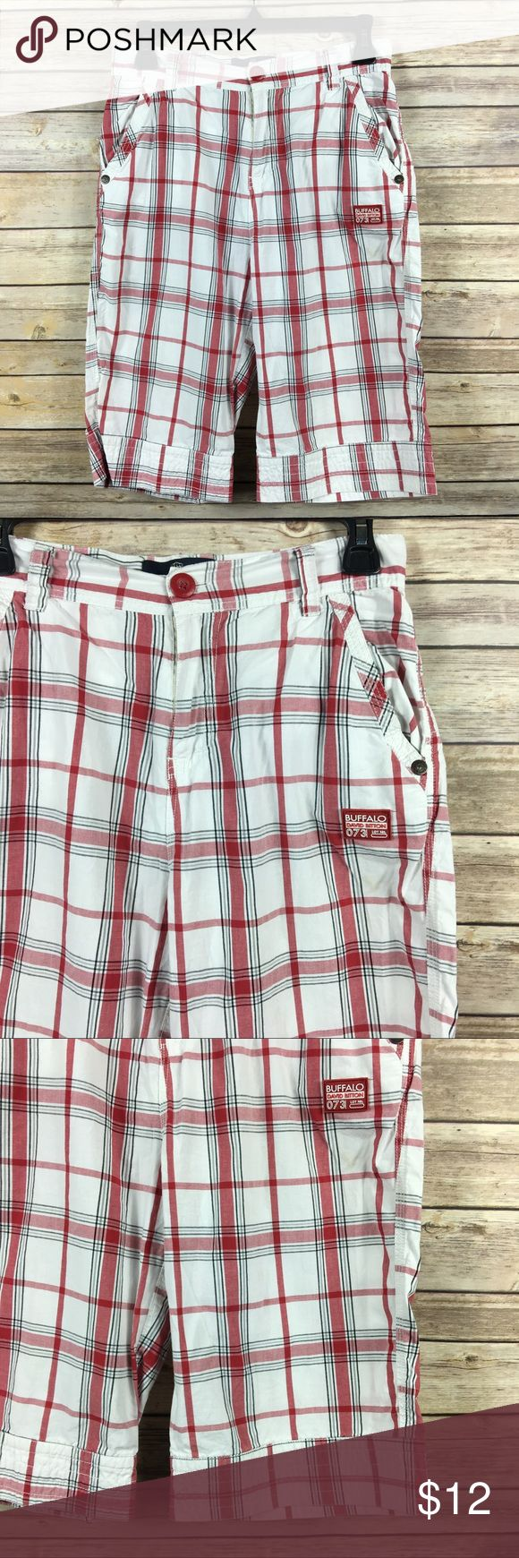 Buffalo David Bitton Plaid Red & White Shorts 14 Buffalo David Bitton Plaid Shorts Red and White Size 14  100% Cotton  Waist 28 in Inseam 12 in Thanks for visiting! Buffalo David Bitton Bottoms Shorts