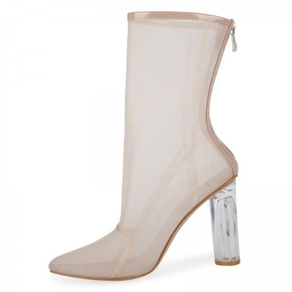 Callie High Ankle Heeled Boots In Nude Mesh With Perspex Heel ❤ liked on Polyvore featuring shoes, boots, ankle booties, short boots, bootie boots, clear-heel boots, ankle boots and nude ankle boots