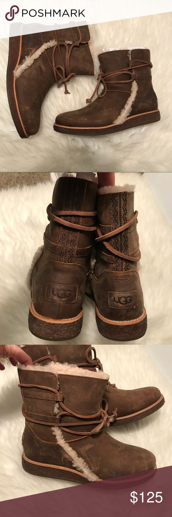 Ugg Rianne boot NEW Fab boots!  New!  Never been worn.  Natural scuffing on leather.  Size 8.  Shearling on ankles but leather footbed.  Makes a great Christmas present UGG Shoes Ankle Boots & Booties
