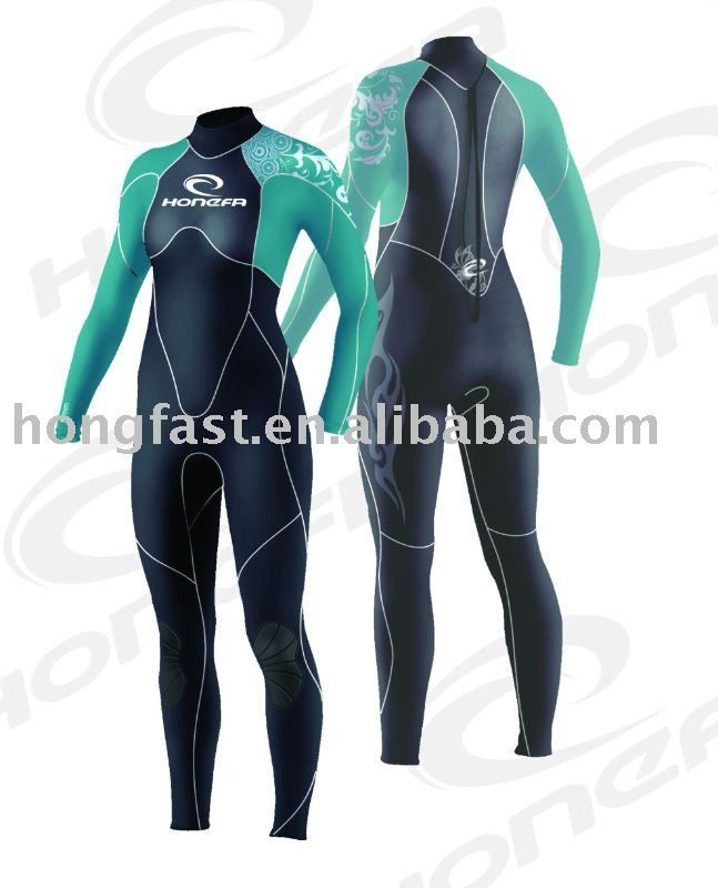 3mm CR spandex full body women's suit long sleeves surfing clothes