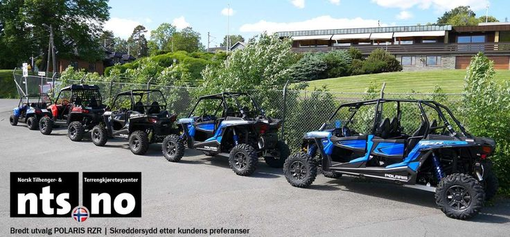 Polaris RZR Family gathered outside NTS.no | Norsk Tilhenger- og terrengkjøretøysenter | Norwegian Authorised Polaris triple star dealer.