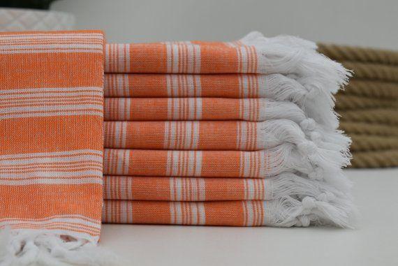 Turkish Towel Orange Towel 40x70 Striped Towel Light Thin Towel