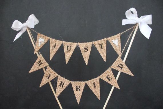 Just Married Wedding cake topper cake banner with burlap