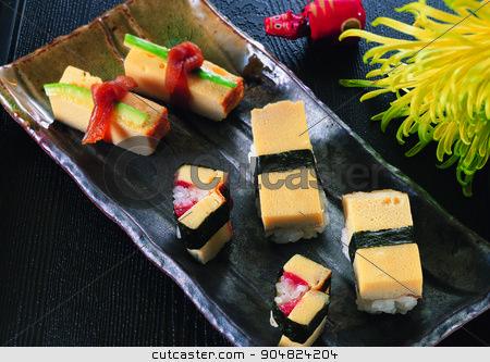 sushi rice with fish stock photo