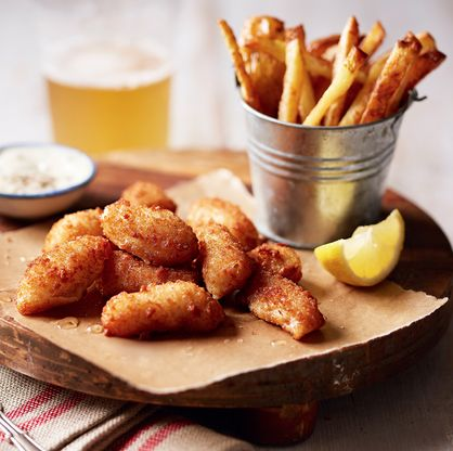 This pub classic combines baked, breaded scampi and homemade fries and is sure to impress in your Father's Day spread.