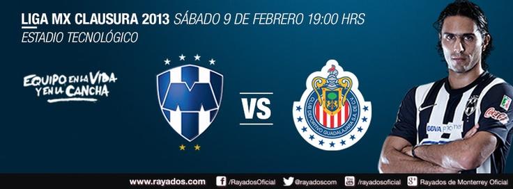 Jornada 6 del Clausura 2013 de la @Liga MX #Rayados vs Chivas en el Estadio Tecnológico a las 19:00hrs.