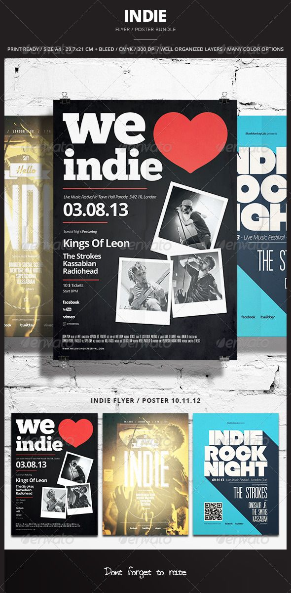 Indie Flyer / Poster Bundle 4  #GraphicRiver        Indie Flyer / Poster Bundle 4 Promote any kind of music event. Gig, Concert, Festival, Party or weekly event in a music club and other kind of special evenings. Help File included.    3 psd File  Print Ready  A4 29,7×21 CM + bleed  300 dpi  CMYK  Well Organized Layers  Professional  clean design  Easy to use  Help File  Fonts Used  Null – fontfabric /null-free-font/  Open Sans –  .fontsquirrel /fonts/open-sans  ChunkFive –  .fontsquirrel…