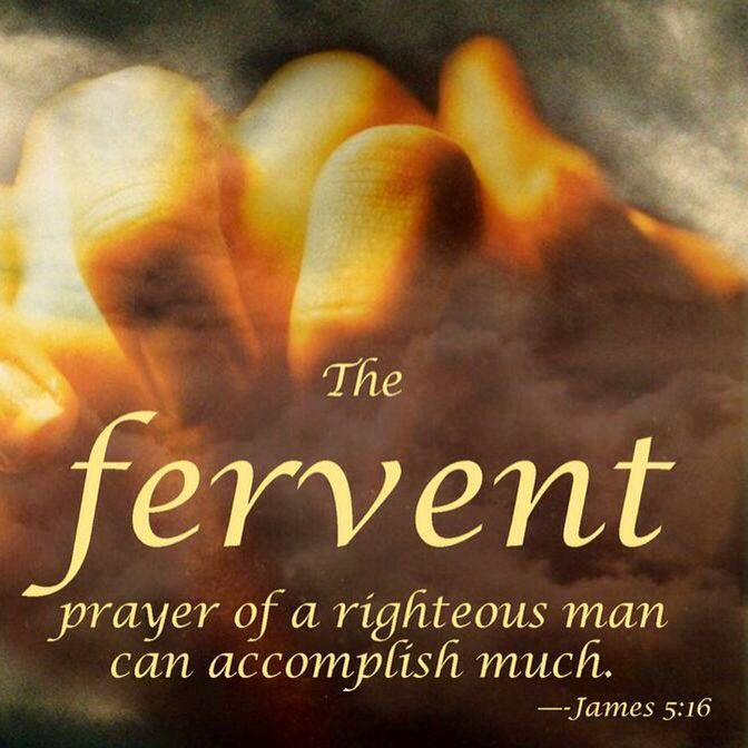 James 5:16: ' ... The effectual Fervent Prayer  of a Righteous man Availeth much.'   <3  B