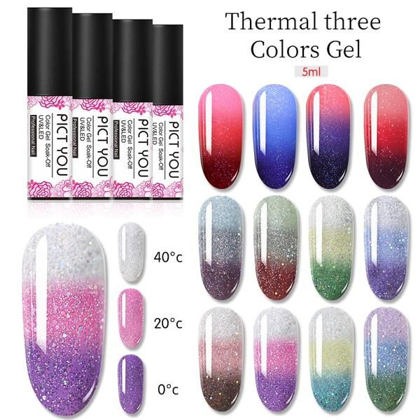 Pict You 1 Bottle Thermal Nail Gel Three Colors Soak Off Gel Polish Color Changing Temperature Change Nail Gel 22 Thermal Nails Gel Polish Colors Soak Off Gel