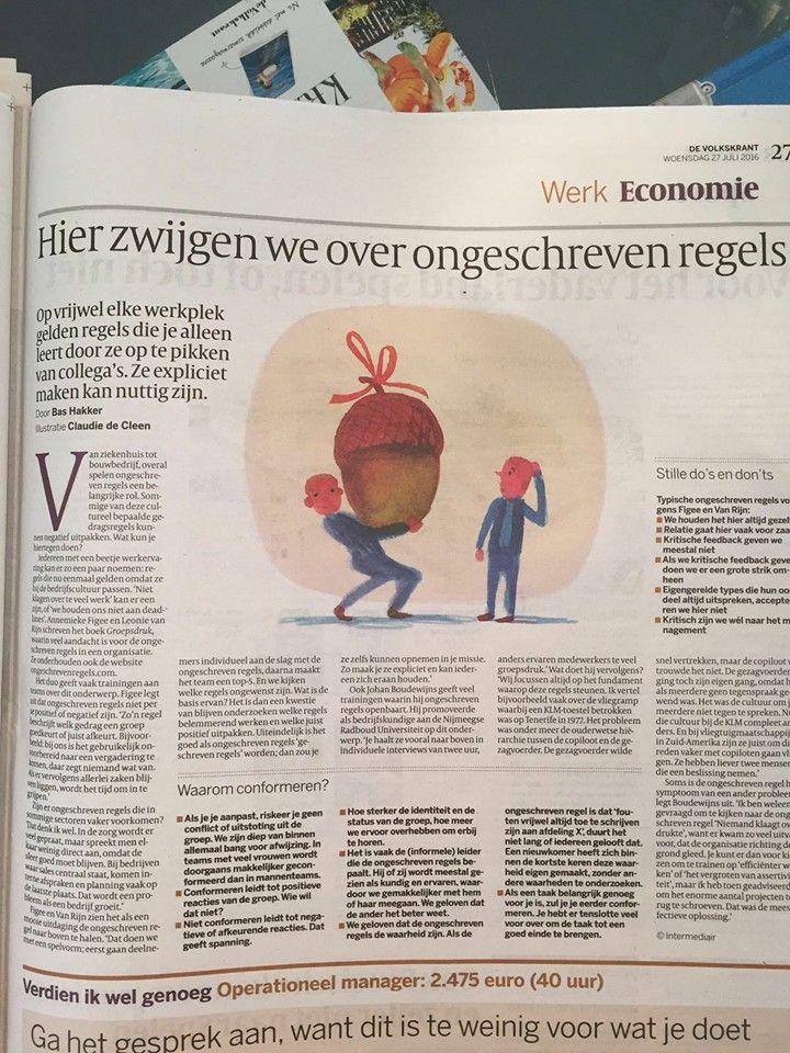 Mooi artikel over 'Groepsdruk' van Annemieke Figee en Leonie van Rijn in de Volkskant: Hier zwijgen we over ongeschreven regels. Van ziekenhuis tot bouwbedrijf, overal spelen ongeschreven regels een belangrijke rol. Sommige van deze cultureel bepaalde gedragsregels kunnen negatief uitpakken. Wat kun je hiertegen doen? #groepsdruk #annemiekefigee #leonievanrijn #devolkrant #volkskrant #ongeschrevenregels #futurouitgevers