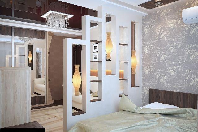 raumteiler schlafzimmer ideen regalwand pendelleuchten design