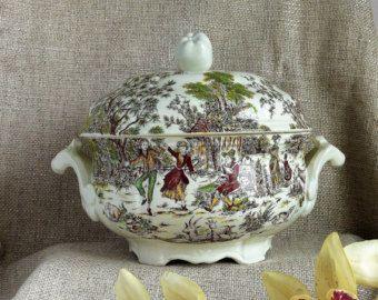 Sopa de flores gran sopera, sopera Vintage, Francés Vintage sopera. Gran sopa que sirve de recipiente, cocina de la casa de campo francesa, regalo de aniversario