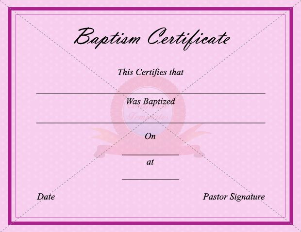 Best Baptism Certificate Template Images On