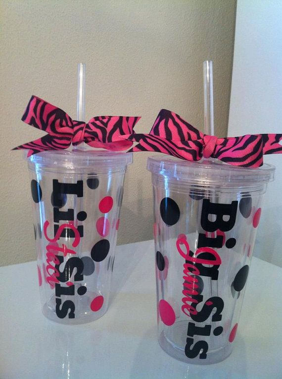Big Sis/Lil Sis Tumbler With Lid and Straw. Dance little sis gift