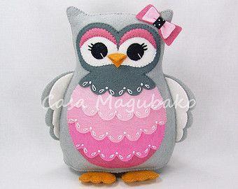 Felt Owl Pincushion - Stuffed Animal - Owl Soft Toy - Felt Owl Plush - Wool/Rayon Felt
