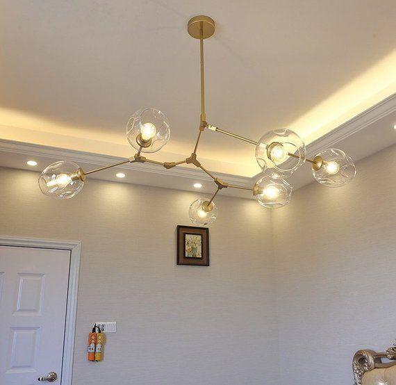 Modern Chandelier Light Fixture Gold Pendant Hanging Lamp