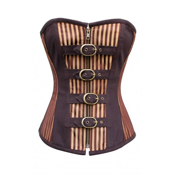 Striped Brocade Corset With  Buckles idea for more feminine outfits either sky city or downstairs