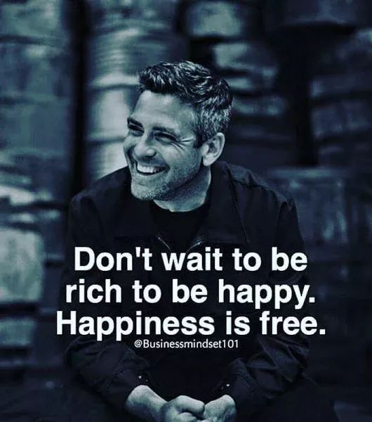 """Don't wait to be rich to be happy. Happiness is free."""