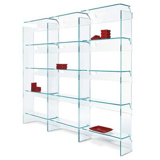 Marco Brunori Socrate Bookshelf   Monolithic Bookshelf In Extra Clear  Curved Glass, 10 Mm Thick.