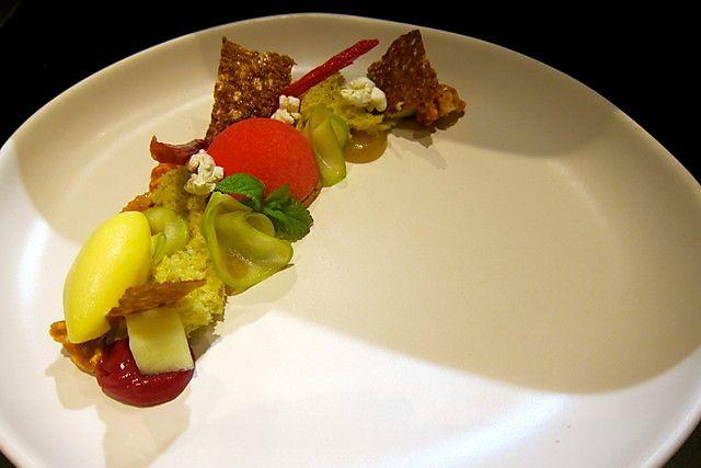 Rhubarb w/ Apple, Caramelised Popcorn, Mousse, Gelato - Milse, Auckland CBD