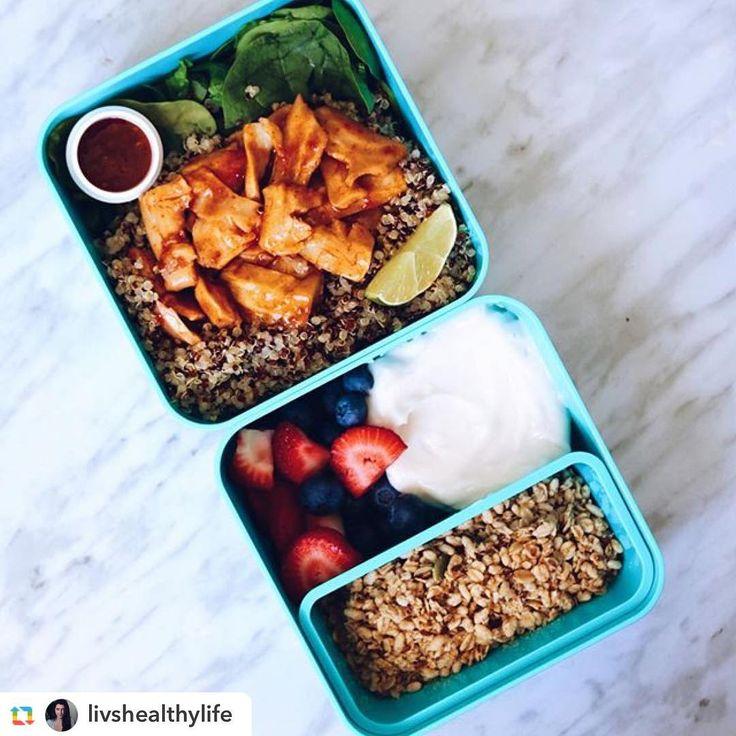 """518 Likes, 20 Comments - @monbento on Instagram: """"Un récipient bento avec une salade de quinoa et chick'n vegan sauce thaï, l'autre avec du yaourt à…"""""""