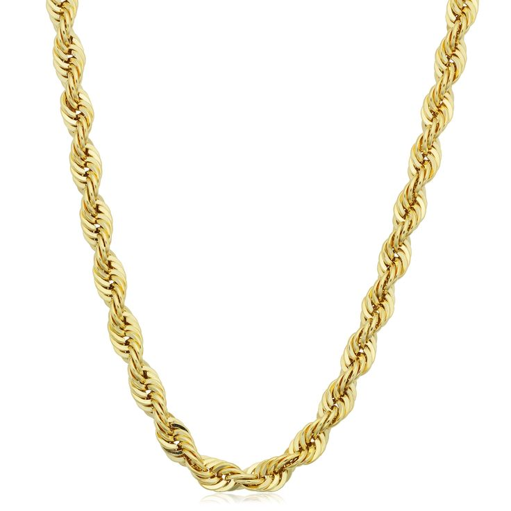 Fremada Men's 14k Gold 4.2mm Rope Chain Necklace