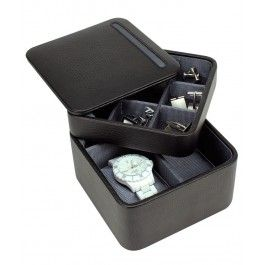 Nu numai Pamantul se invarteste in jurul Soarelui ci si cutia de ceasuri si butoni, din piele naturala, Dulwich Designs