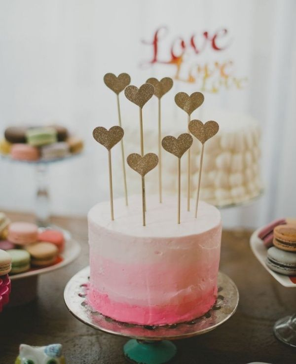 Ombre pink single tier wedding cake with DIY toppers