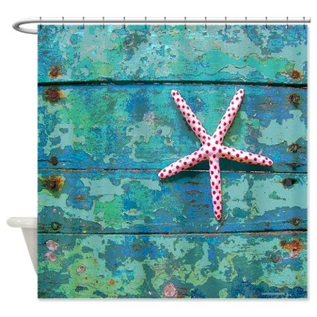 Starfish and Turquoise Shower Curtain on CafePress.com