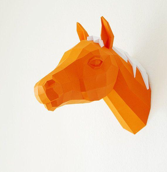 Horse Trophy, Papercraft Horse template, 3D Puzzle, diy horse, Paper horse