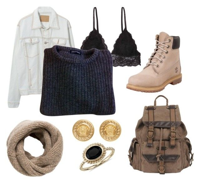 """Fall Outfit"" by ventablack on Polyvore featuring Humble Chic, American Apparel, Wilsons Leather, Versace, Blue Nile, Timberland and MANGO"