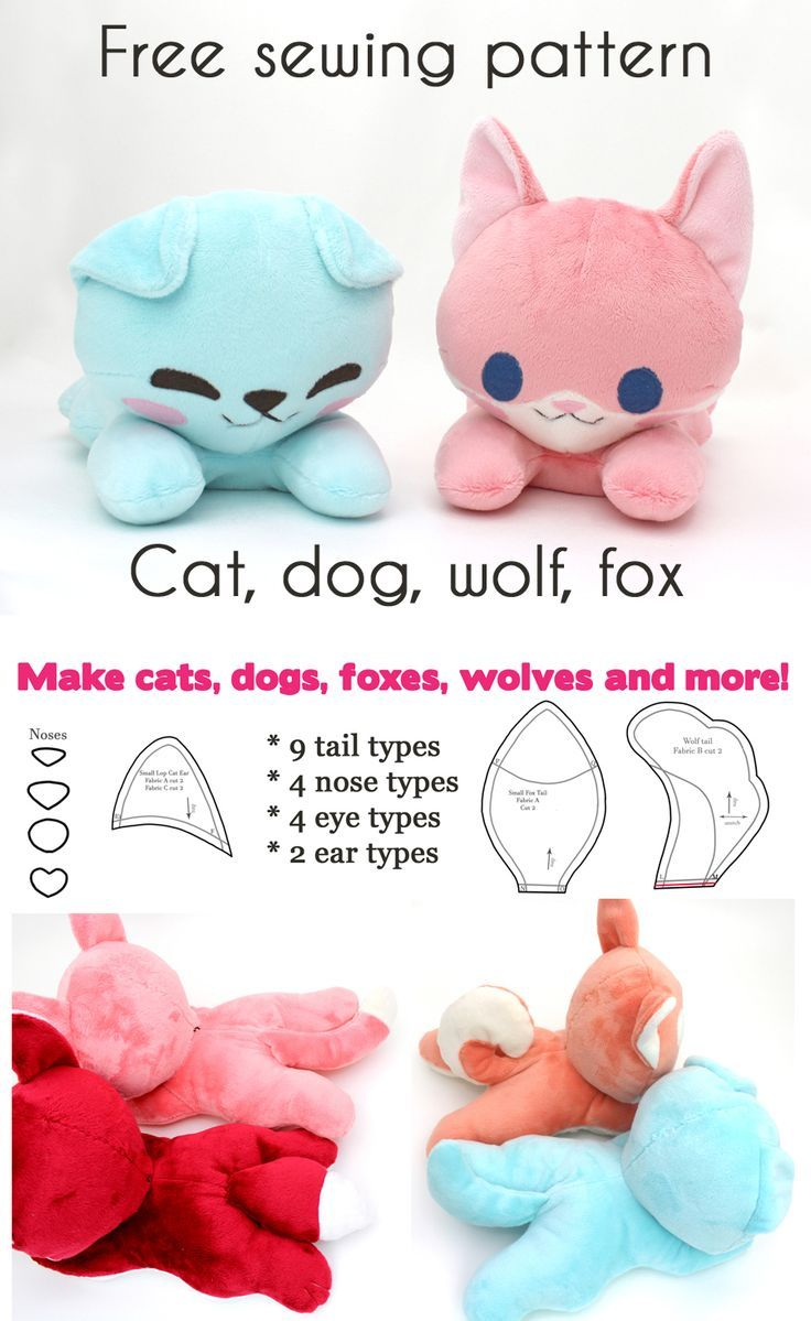 Free kawaii sewing patterns to make your own stuffed animals ~ dog cat fox and w