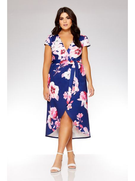 569bfc64e0c QUIZ - Curve Navy And Pink Floral Wrap Dress - 2018